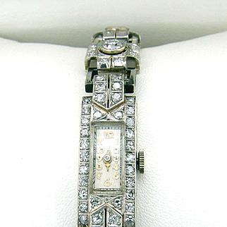 Diamond Bracelet Art Deco Watch 5 ct. + Beautiful Diamonds