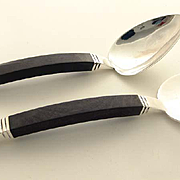 Taxco Hector Aguilar Aztec Sterling Silver Rosewood Salad Set