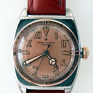 Rare 1943 Rolex Bubbleback , Viceroy, California Dial, Rose Gold Bezel, Salmon Face, Mercedes Hands,