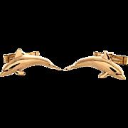 Estate 14k Gold Dolphin Cufflinks