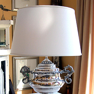 Edwardian Silver plate Table Lamp Large Fabulous