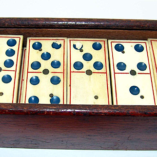 Rare CIvil War Era Blue Dot Dominoes in original box