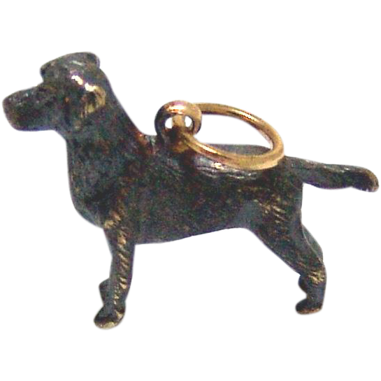 Estate 14kt Gold Black Labrador Charm