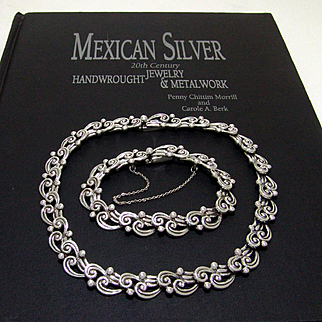 Margot De Taxco Sterling Silver Necklace and Bracelet Set Fabulous Vintage 1948