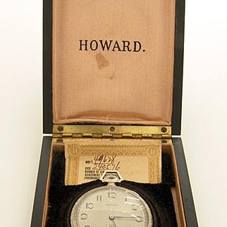 E. Howard Watch Co. Boston 14k White Gold Box & Paper Mint