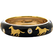 Hidalgo 18k Running Horses & Diamonds Ring