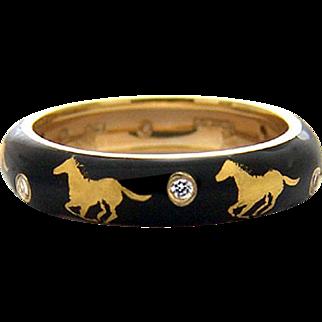 Hidalgo 18k Running Horses & Diamonds Ring