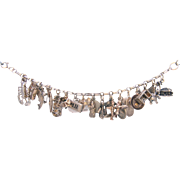 Vintage Sterling Silver Charm Bracelet Alaska, West Coast, East Coast, Standhope, Bilikin