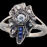 Vintage Art Nouveau Diamond Ring with Sapphires