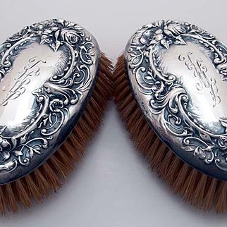 Antique Sterling Silver Brush Set Art Nouveau
