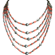 Vintage old coral multi strand necklace.