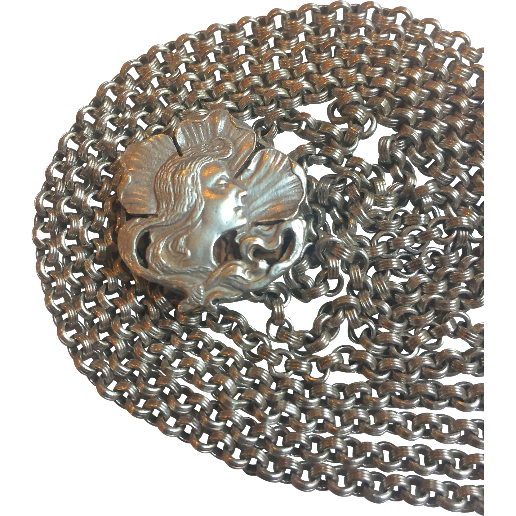 Gorgeous Heavy beautifully detailed French silver muff chain with slide 55g w. dog clasp