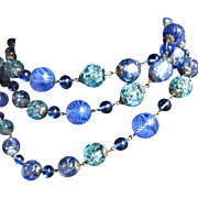 Long Murano and Venetian glass in very rare blues necklace
