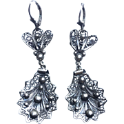 Vintage 800 silver filigree earrings.