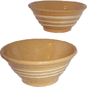 Two very small yellow ware bowls,c 1920