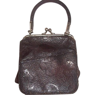 Small leather doll or child's purse..4 1/2 x 5 inches