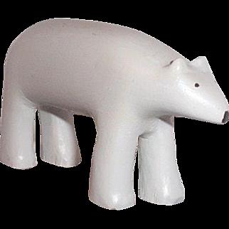 Carved wooden polar bear