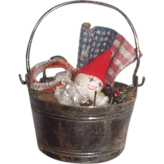 Silver basket with christmas surprises