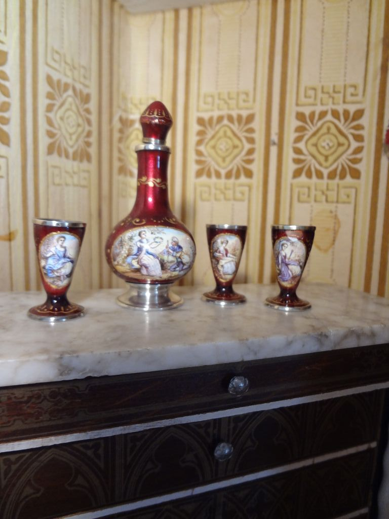 Austrian Enamel and Silver Hand Painted Miniature Wine Set