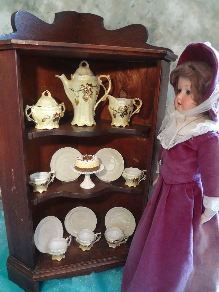 SALE  Miniature Corner Cabinet for Doll Display
