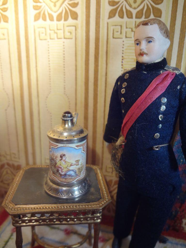 Miniature French  Enamel with Silver Tankard