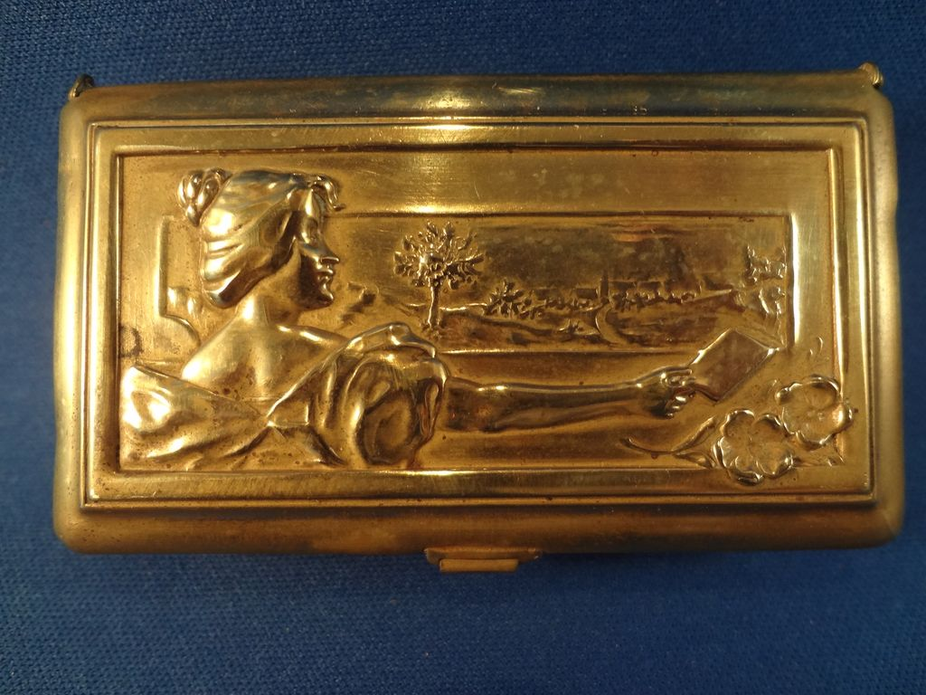 Small Brass Box with Raised Relief