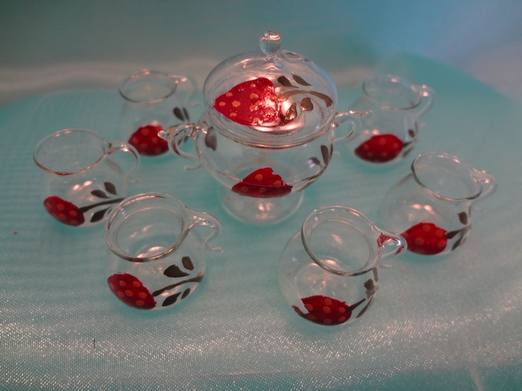Doll House German Glass Punch Bowl and Six Cups