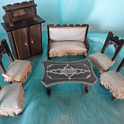 Doll House German Parlor Suite in Ebonized Wood