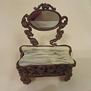 Doll House Ormolu  Dressing Table with Mirror and Faux Marble Top