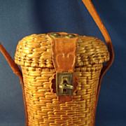 Doll's Wicker Basket Purse with Leather Strap