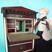 German Large Scale Doll House Drop Front Desk