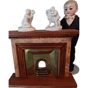 Miniature Pair Parian Figures Dog and Child