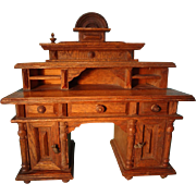 German Oak Doll House Desk Large Scale