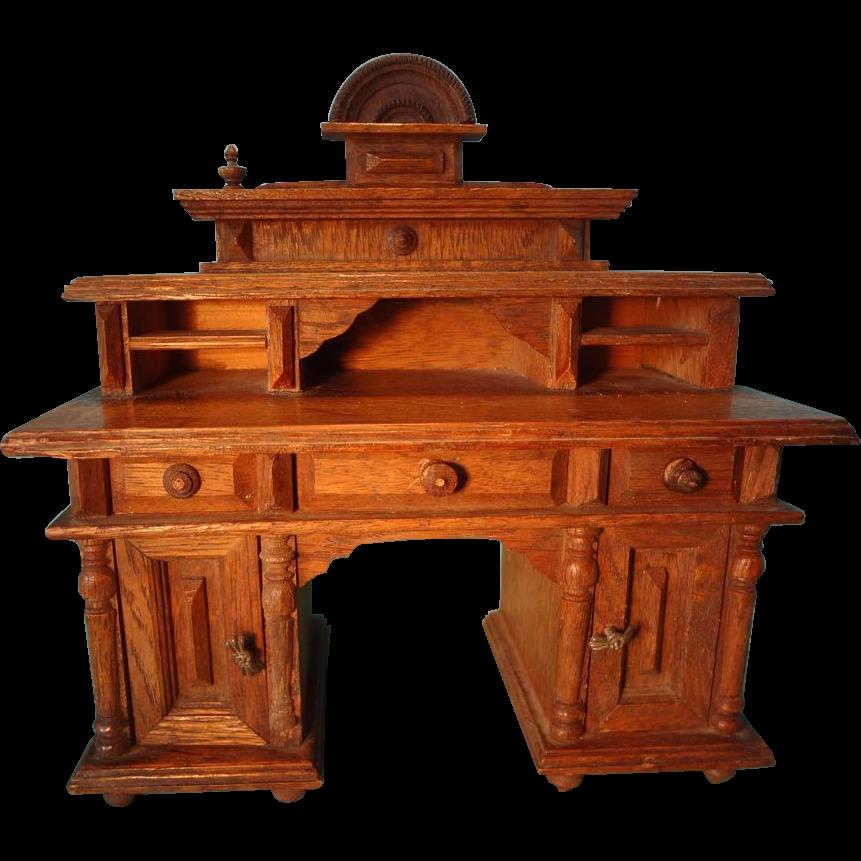 German Oak Doll House Desk Large Scale