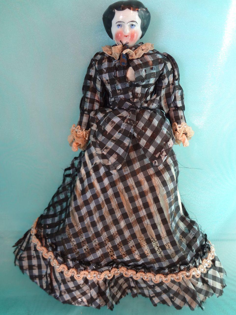 Black China Head in Silk Black Check Dress