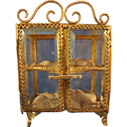 Miniature Antique Beveled Glass and Ormolu Showcase