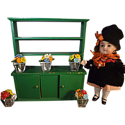 Tynietoy Doll House Open Shelf Cabinet with Two Doors Painted Green