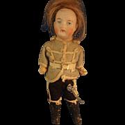 "SALE 6 1/2"" Bisque Boy in Original Uniform with Sword"