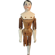 """ON HOLD 4 1/4"""" Pink Tint Porcelain Man on Wood Jointed Body Porcelain Lower Limbs"""
