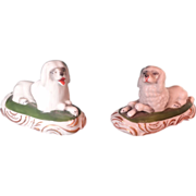 Pair of Porcelain Seated Dogs Miniature Mantel Pieces