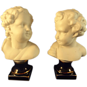 Pair of German Bisque Busts of Children with Cobalt Bases
