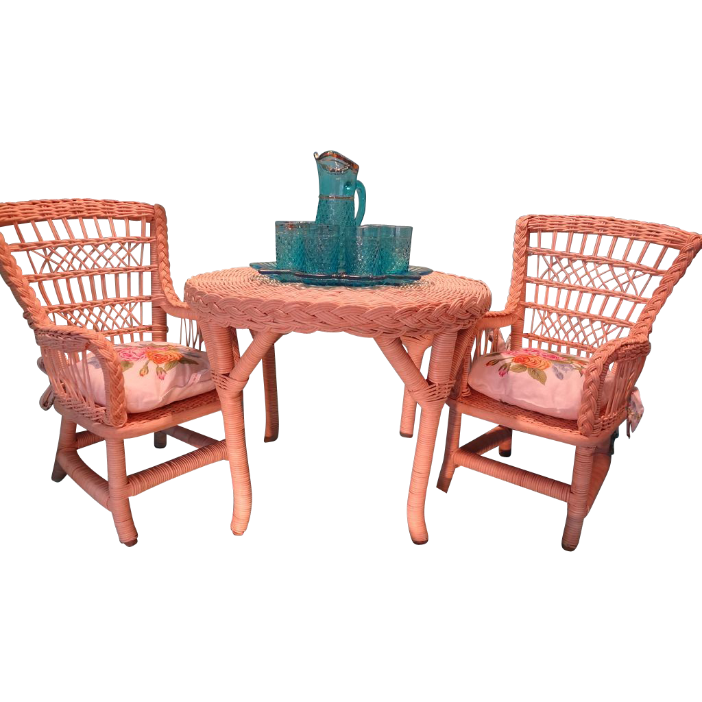 American girl doll furniture rattan table and two chairs for American rattan furniture manufacturer
