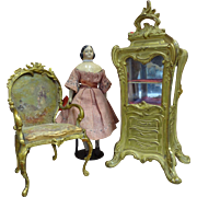 REDUCED  Dore Bronze and Hand Painted Silk Miniature Chair for French Fashion