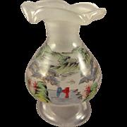 Miniature Blown Glass Vase Hand Painted Eglomise
