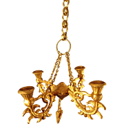 Doll House Gilt Metal Chandelier with Four Arms