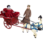 Cast Iron Mule and Cart for Small Dolls