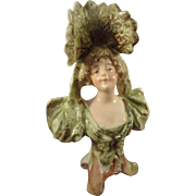 Miniature Porcelain Bust of Lady with Turned Head