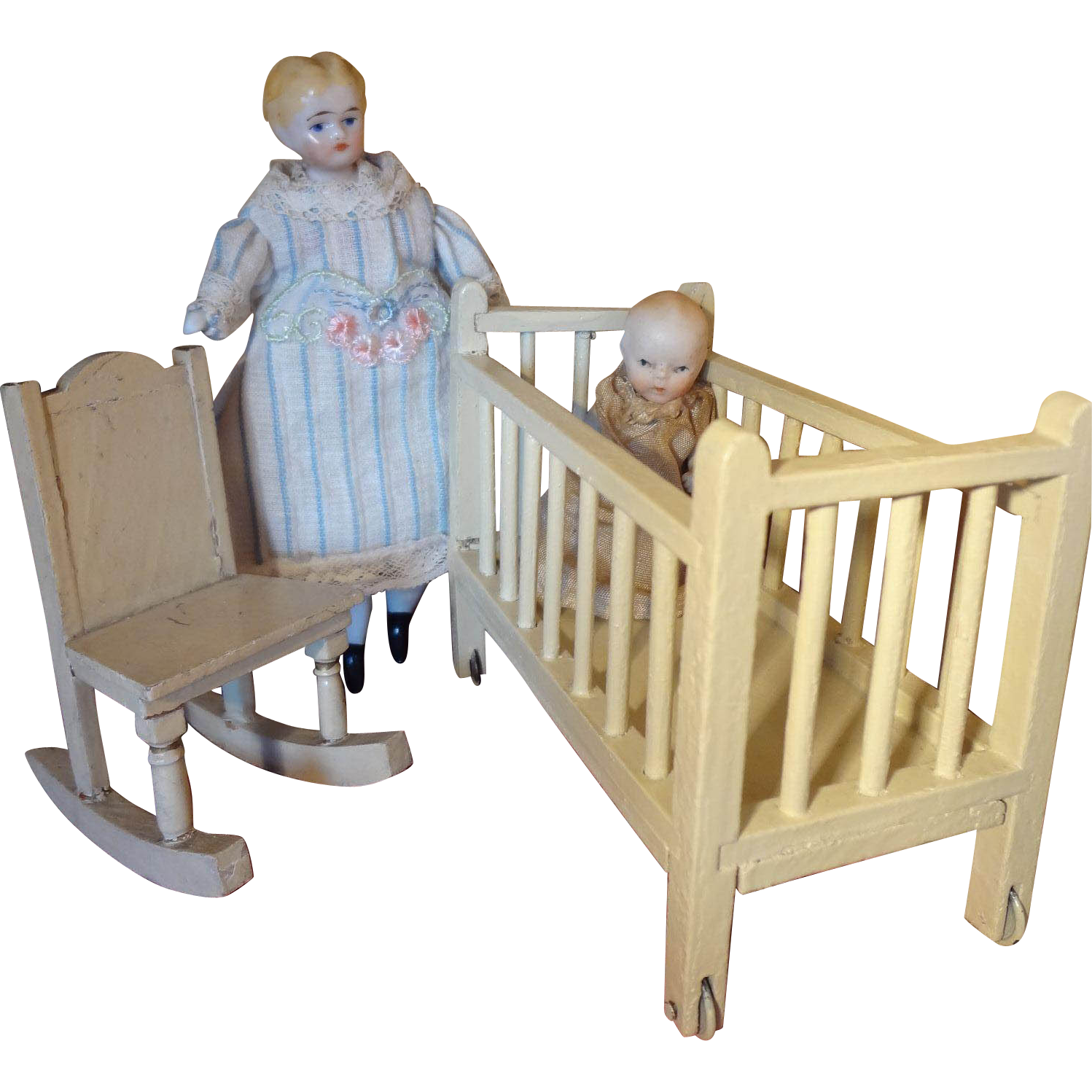 Doll House Crib and Rocking Chair from jackieeverett on Ruby Lane