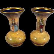 Pair of Miniature French Enamel Enamel Vases Signed