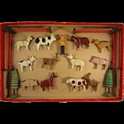 German Farm Animal Set in Original Box Erkebirge Wood